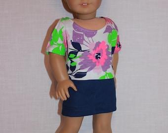 18 inch doll clothes, cold shoulder floral print top, dark blue denim skirt , Upbeat Petites