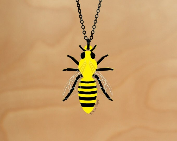 Featured listing image: The Bee's Knees - Bee Necklace - Laser Cut Necklace (C.A.B. Fayre Original Design)