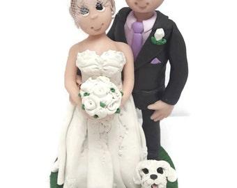 Wedding Cake Topper - CUSTOM cake topper, FUNNY cake topper, Wedding figurines, wedding topper, Older couple topper,dog wedding cake topper