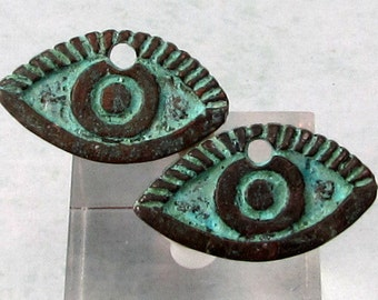 Greek Casting, Eye Charm, Green Patina, 2 pieces, M499