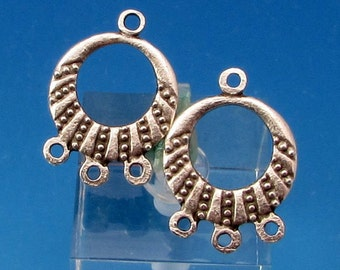 Greek Earring Hoop, Chandelier, Antique Silver, Pewter, 2 Pieces, M393