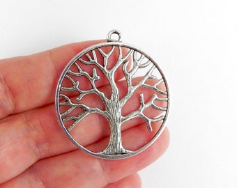 5 Tree Pendant Charms  - 38mm x 34mm - Double Sided - Tree Branches