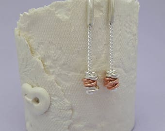 Sterling Silver and Rose Gold Intertwined Rings Earrings, Twisted Rings Earrings, Dangle Earrings, Drop Earrings, Silver and Gold Earrings