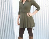 Short Wrap Dress with Sleeves - Hemp & Organic Cotton Lycra Jersey - Custom Made to Order in the USA by Yana Dee - You Pick the Color