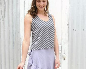 Hemp Tank Top - Sleeveless Shirt Made to Order by Yana Dee from Hemp & Organic Cotton Jersey - Pictured in Gray Stripe, Many Color Available