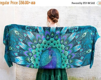 Peacock Scarf, Blue Silk Scarf, Feather Scarf, Blue Scarf, Beach Bridesmaid Scarf, Silk Wrap, Wings Shawl, Silk Shawl, Peacock Wedding Scarf