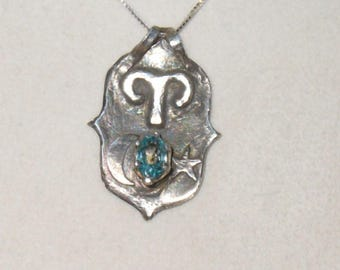 Aries Astral Pendant Necklace with Genuine Brilliant Blue Zircon in Solid Fine silver