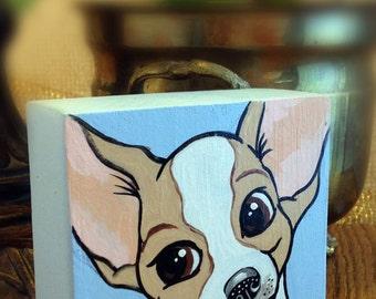 Dog Art/Dog Painting/Chihuahua/Art For Kids/Kids Room Decor/Upcycled Art/Art For Children/Animal Art/Pet Portrait/Animal Decor