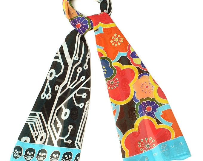 Hand painted Silk Scarf, Flower Scarf, Hand made scarf, Japanese scarf, Unique Scarf, Batik Handpainted, Pattern scarf, Skull scarf