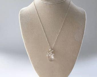 Bouquet, bridesmaids necklace in silver, white pearl and clear crystal, Free Shipping to USA