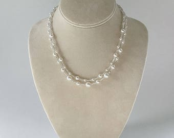 Effervescence, bridal necklace, two strands of white pearls, Free Shipping to USA