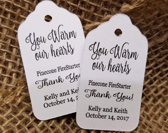 """You WARM our Hearts Pinecone Fire starter favor tag Choose your quantity SMALL 2"""" Favor Tag pine cone NOT included"""