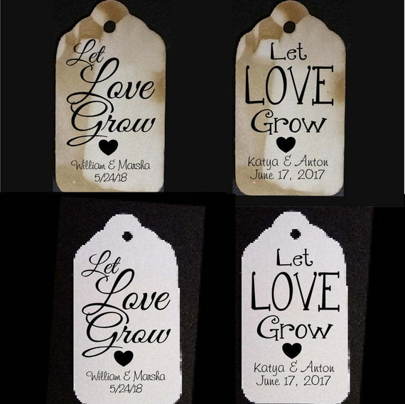 Let Love Grow Plain or Script Font MEDIUM Personalized Wedding Favor Tag  choose your amount