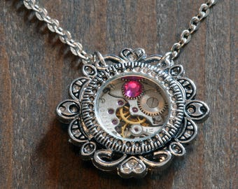Steampunk Victorian Jewelry - Watch Movement and Pink Rose Crystal