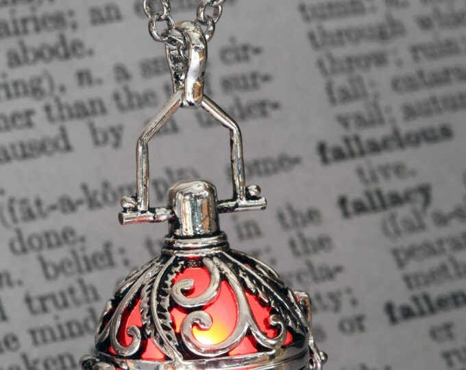 Glowing Pendant Glowing Necklace Ornate Fairy Locket with Red glowing Orb Valentine Gift for her - LED Jewel