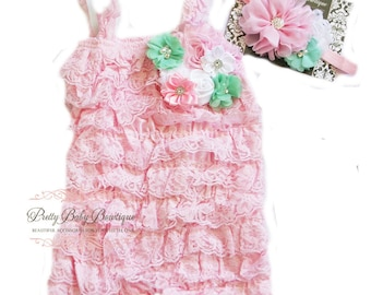 Baby Girl Cake Smash Outfit Pink and Mint Baby Romper Headband SET, Toddler Baby Pink and Mint Outfit, Baby Photo Prop