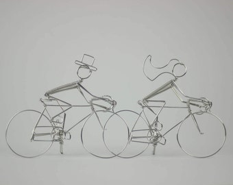 Bicycle Wedding Cake Topper Cyclists: RACE YOU to the ALTER