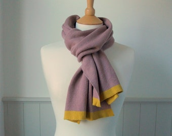 Rose Pink, Yellow Trim, Knitted Cashmere Scarf - Soft, Winter, Cosy, Valentines