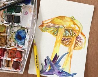 Mushroom Painting - Watercolor Art of Golden Waxcap Mushrooms - Original Watercolor Painting by Jen Tracy - Yellow Beauties