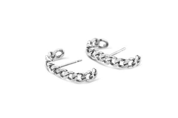Minimalist Chain Earrings | Ear Huggers | Arc Earrings | Chain Stud Earrings | Modern Chain Earrings
