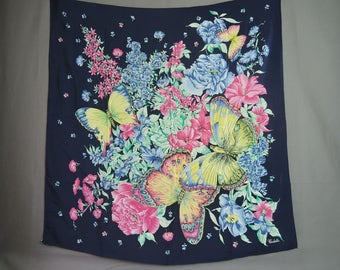 Vintage Silk Butterfly Scarf, Large Square 33 x 34 inches, Pink Yellow & Blue, Head Neck