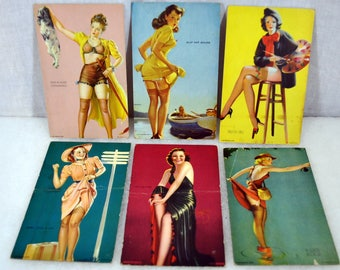Lot of 6 Vintage 1940s Mutoscope Pin-Up Cards - Stockings - Arcade Cards