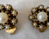 Small Vintage Flower Faux Pearl Costume Jewelry Clip Back Earrings