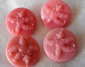Set of 4 VINTAGE Small Clown Pink Glass BUTTONS
