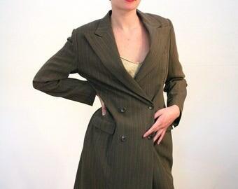 90s Ralph Lauren Coat, Frock Coat, RL Collection Luxury Coat, RL Purple Label Double Breasted Jacket, RL Women's Brown Pinstriped Coat, M