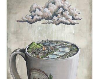 Coffee City Portland Print, Portland coffee art, Portland bridges art print, Portland skyline art, Portland illustration with mug and rain