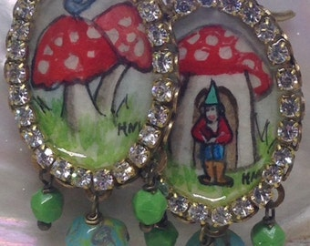 Lilygrace Christmas Toadstool, Gnome and Bluebird Handpainted Cameo Earrings with Vintage English Cut Beads
