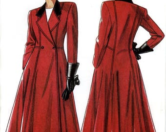 New Look 6029 Double Breasted Coat NOtched Collar Contrast Princess Seams Size 8 10 12 14 16 18 Uncut Sewing Pattern 1980s