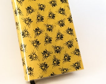 Paperback Book Cover - Reusable, Protective and Adjustable - Large Trade Size - Black And Yellow Bee Design on Lokta Paper