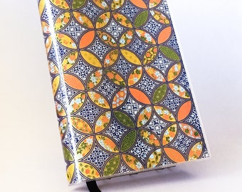 Paperback Book Cover - Reusable, Protective and Adjustable -  Small Mass Market Size - Stylish Book Cover with Circle Patchwork Design