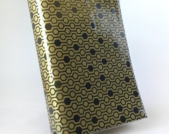 Paperback Book Cover - Reusable, Protective and Adjustable - Large Trade Size - Stylish Book Cover with Black Hexagon Pattern on Gold