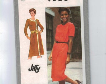 1980s Vintage Sewing Pattern 9368 Misses Easy Asymmetrical Front Wrap Jiffy Buttoned Dress Size 14 Bust 36 80s 1980 UNCUT