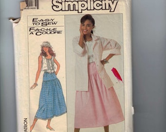 1980s Sewing Pattern Simplicity 8076 Misses Easy Romantic Camisole Top and Drop Waist Skirt Size 10 12 14 16 Bust 31 32 33 34 36 38 80s