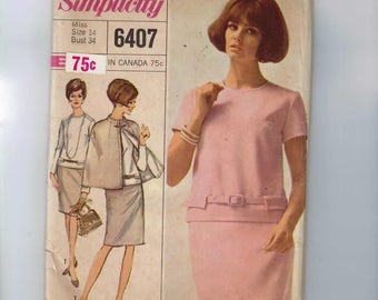 1960s Vintage Sewing Pattern Simplicity 6407 Misses Two Piece Dress Skirt Top and Reversible Cape Size 14 Bust 34 60s 1966 UNCUT