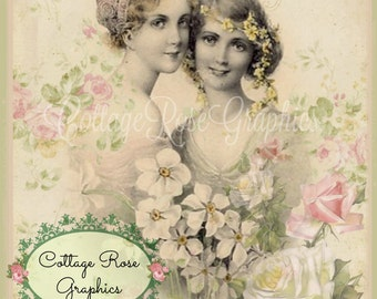 Vintage Victorian FRIENDS roses digital download cottage chic Buy 3 get one FREE