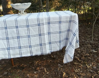 Blue White Linen Tablecloth Blue Plaid Linen Table Cloth Custom Sizes Colors French Country Wedding Decor Choose Blue, Red, or Tan Plaid