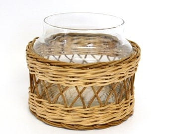 Clear Glass Jar with Wicker Wrapped Exterior