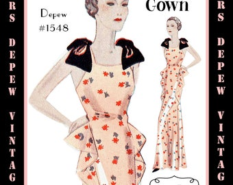 Vintage Sewing Pattern 1930's Evening or Wedding Gown in Any Size Depew 1548 - PLUS Size Included -INSTANT DOWNLOAD-