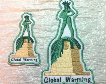 Unique - Sure Sign of GLOBAL WARMING Iron on Patch or Applique  - 2 Sizes - FREE U.S. Shipping
