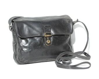 Vintage BREE Black Leather Cross Body Bag