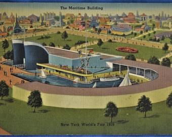 Postcard Maritime Building New York World's Fair 1939  Linen
