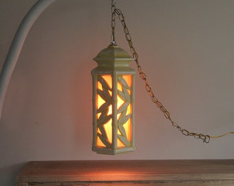 Tall Bamboo Pierced Blanc De Chine White & Yellow Ceramic Lantern Hanging Chandelier