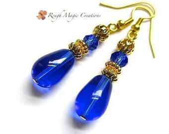 Gold and Sapphire Blue Earrings, Cobalt Blue Royal Blue Teardrops, September Birthstone, Gift for Women Elegant Evening Jewelry for Her E403