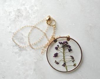 Purple Alyssum Necklace Pressed Flower Jewelry Botanical Jewelry Bridal Jewelry