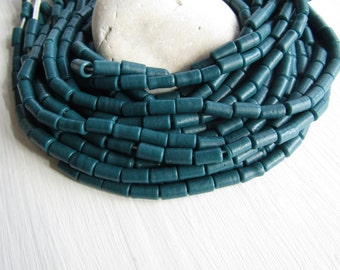 Teal lampwork  glass beads,  blue green tube shape , opaque matte finish ,  boho ethnic supplies from Indonesia 6 x 10mm (20 beads) 6CB13-6