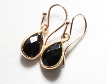 Black Spinel Earrings Genuine Spinel Small Dangle Earrings Black Teardrop Earring August Birthstone ccccccc14k Gold Bezel BZ-E-102-BSpinel/g